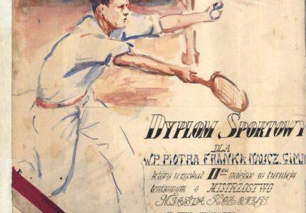 Диплом (грамота), виданий Петру Франку за ІІ місце у змаганнях з тенісу
